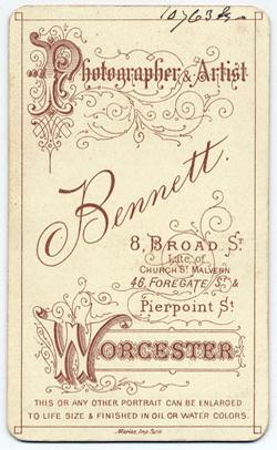Thomas Bennett carte de visite 28 (verso)