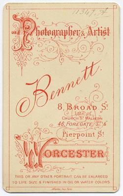 Thomas Bennett carte de visite 29 (verso)