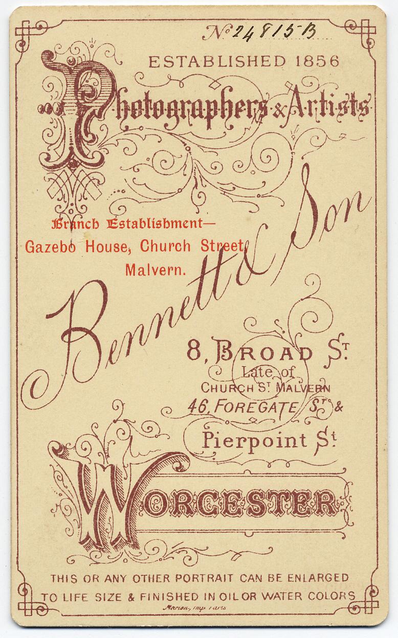 Thomas Bennett & Son carte de visite 1 (verso)