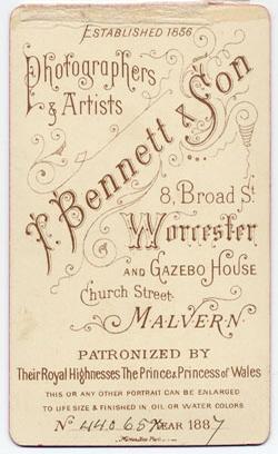 Thomas Bennett & Son carte de visite 6 tissue (verso)