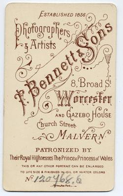 Thomas Bennett & Sons carte de visite 1 (verso)