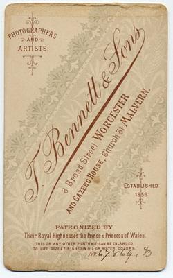 Thomas Bennett & Sons carte de visite 3 (verso)