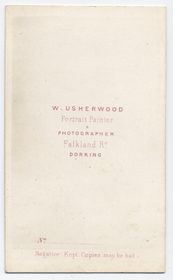 William Usherwood Carte de Visite 1 (verso)