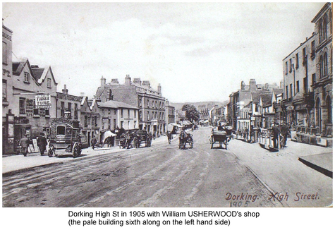 Usherwood William Dorking Museum - postcard Dorking High St 1905