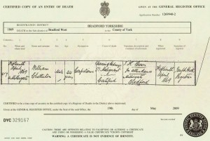 Death Certificate of William Chatterton 1869