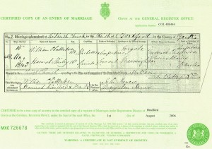 Marriage Certificate of William Chatterton and Hannah Bailey 1843