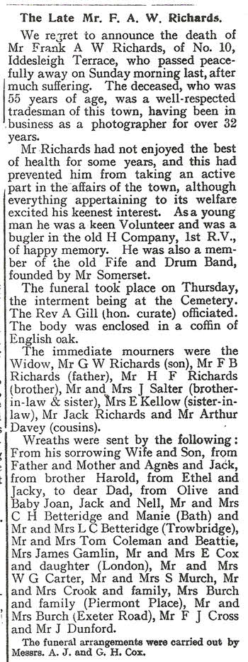 Obituary in the Dawlish Gazette 1924