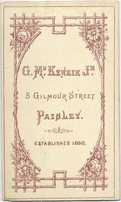 George McKenzie junior carte de visite photo 3 (verso)