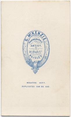 George McKenzie senior carte de visite photo 1 (verso)