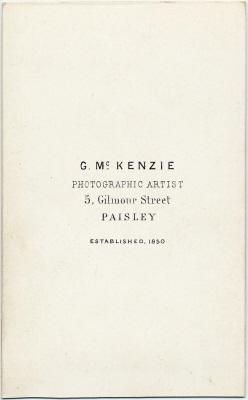 George McKenzie senior carte de visite photo 2 (verso)
