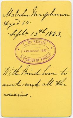 George McKenzie senior carte de visite photo 3 (verso)