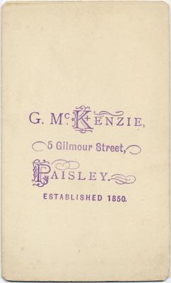 George McKenzie senior carte de visite photo 4 (verso)