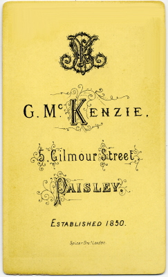 George McKenzie senior carte de visite photo 5 (verso)