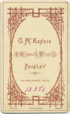 George McKenzie senior carte de visite photo 6 (verso)
