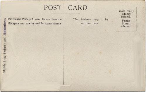 Biltcliffe Brothers photographic postcard 1(verso) _ Stocksbridge 1909