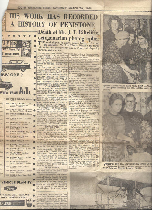 Article about J T Biltcliffe in the Yorkshire Times March 7th 1964