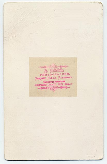 Joshua Biltcliffe cabinet photograph 1(verso)