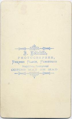 Joshua Biltcliffe carte de visite photograph 1(verso)
