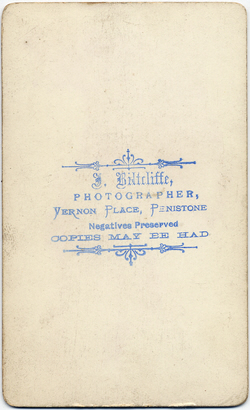 Joshua Biltcliffe carte de visite photograph 2(verso)
