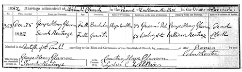 George Henry Glasson's marriage certificate 1882