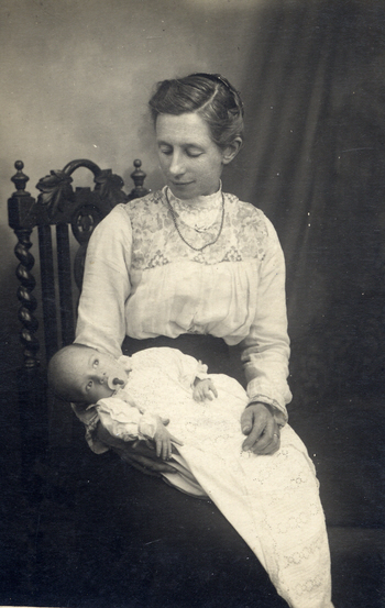 Mary Biltcliffe with her new grandson Charlie in 1918