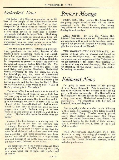 Nethercliffe Congregational Church magazine December 1937 – inside front cover
