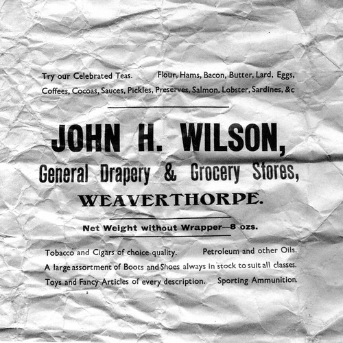 John H Wilson wrapper from his general stores – 1930s