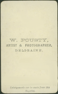 William Pousty carte de visite photograph Deloraine 1 (verso)
