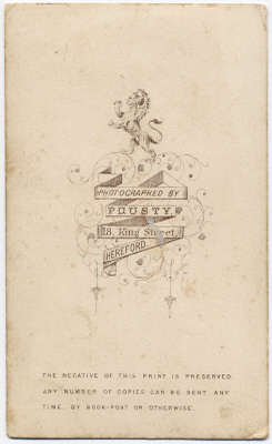 William Pousty carte de visite photograph 1 (verso)