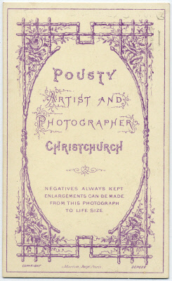 William Pousty carte de visite photograph 7 (verso)