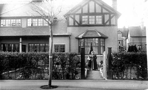 Fanny Spencer with Rupert outside of Brookhurst, the family home in Queen's Road, Llandudno