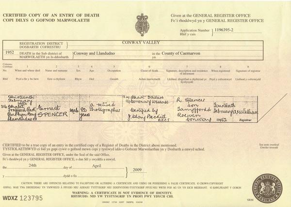 Ernest Spencer's death certificate 1952