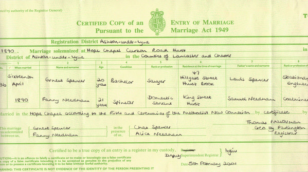 Ernest and Fanny Spencer's marriage certificate – 16th April 1890