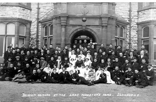 Postcard - exterior view of Belgian Soldiers at Lady Forester's Home - Llandudno