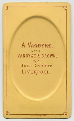 Aaron Vandyke carte de visite photograph 1 (verso)