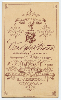 Vandyke & Brown carte de visite photograph 5 (verso)