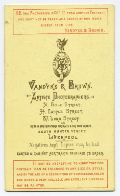 Vandyke & Brown carte de visite photograph 6 (verso)