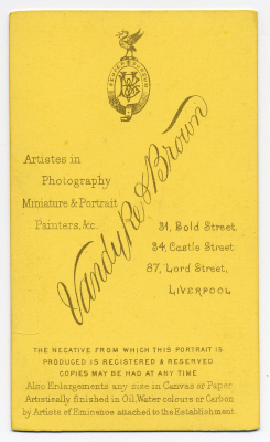 Vandyke & Brown carte de visite photograph 11 (verso)