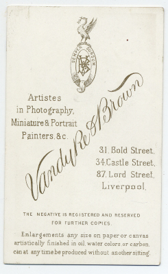 Vandyke & Brown carte de visite photograph 12 (verso)