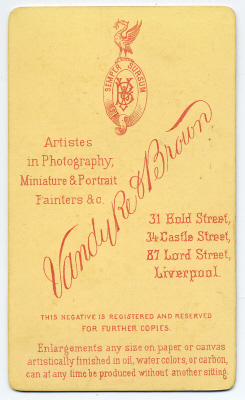Vandyke & Brown carte de visite photograph 13 (verso)