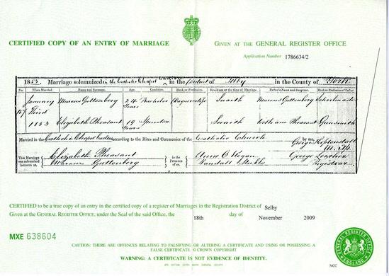 Marcus & Elizabeth Guttenberg - Marriage Certificate - 1853