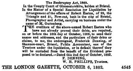 Guttenberg, M Bankrupt Oct 1882