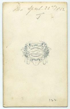Marcus Guttenberg carte de visite photograph 1 (verso)