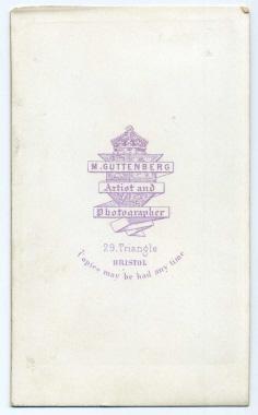 Marcus Guttenberg carte de visite photograph 4 (verso)