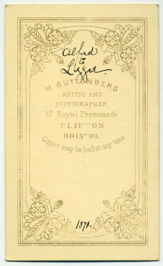 Marcus Guttenberg carte de visite photograph 12A (verso)