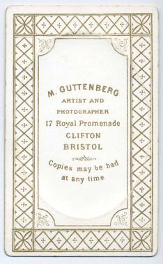 Marcus Guttenberg carte de visite photograph 18 (verso)