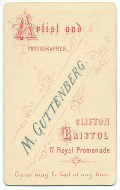 Marcus Guttenberg carte de visite photograph 21 (verso)