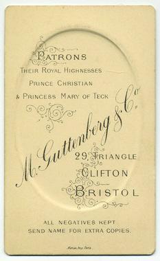 M Guttenberg & Co carte de visite photograph 1 (verso)
