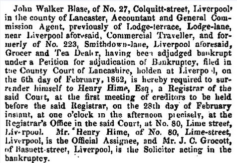 Blase, J W Bankruptcy Feb 11 1862 London Gazette