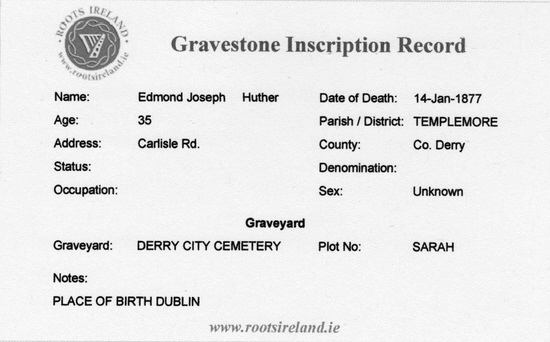 Huther, E. J.  Death Certificate